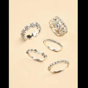 5 Piece Ring Set Silver Rhinestones a few styles!